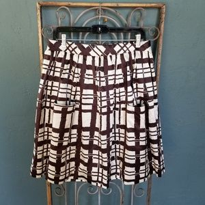 ANTHRO Maeve brown & white pleated skirt